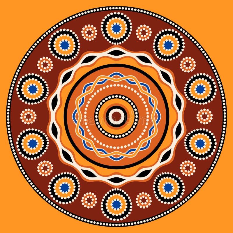 Conception ethnique de fond de cercle Ornement géométrique traditionnel australien illustration de vecteur