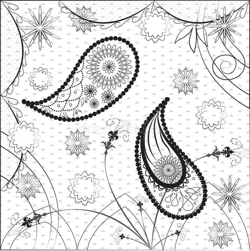 Conception ethnique traditionnelle indienne de modèle de Paisley illustration de vecteur