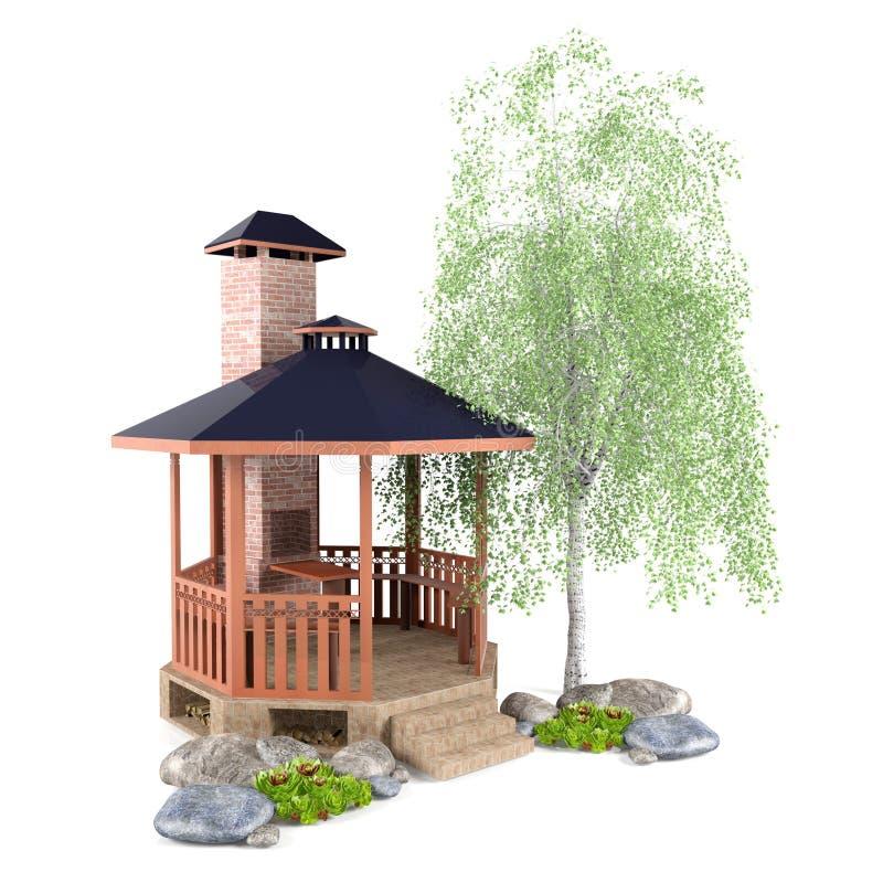 Conception extérieure de jardin illustration de vecteur