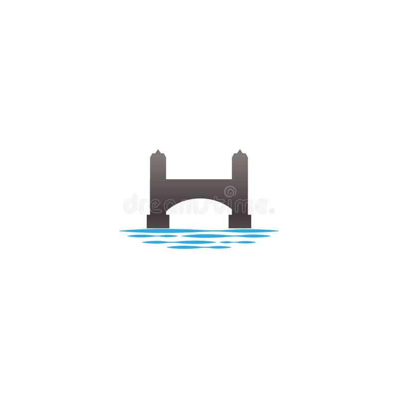 Conception extérieure de logo d'illustration de pont et de rivière illustration de vecteur