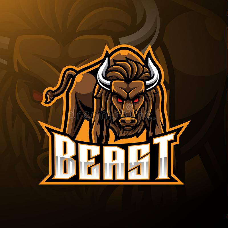 Conception fâchée de logo de mascotte de taureau illustration stock