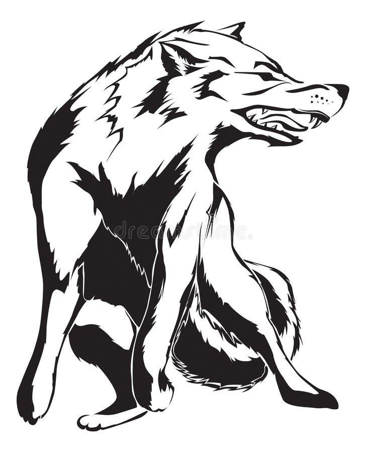 Conception fâchée de tatouage de loup illustration de vecteur