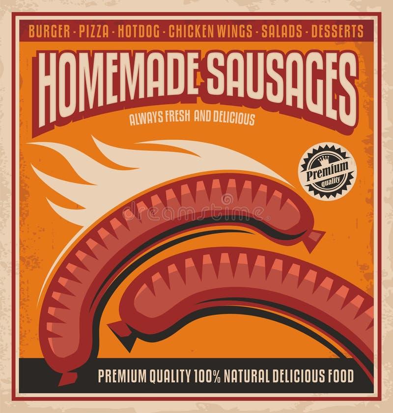 Conception faite maison d'affiche de saucisses illustration libre de droits
