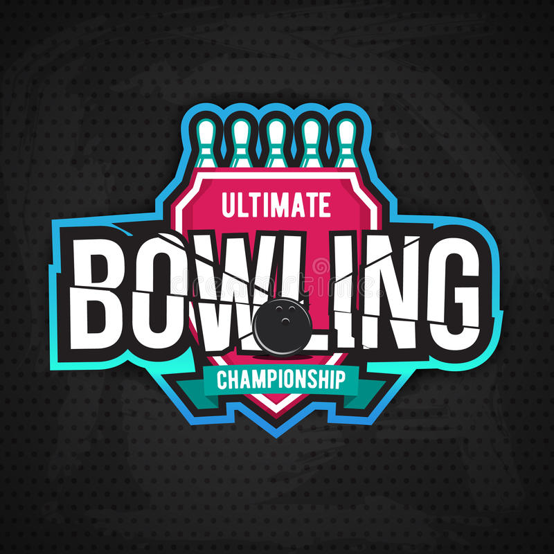 Conception finale de logo de chanpionship de bowling illustration de vecteur