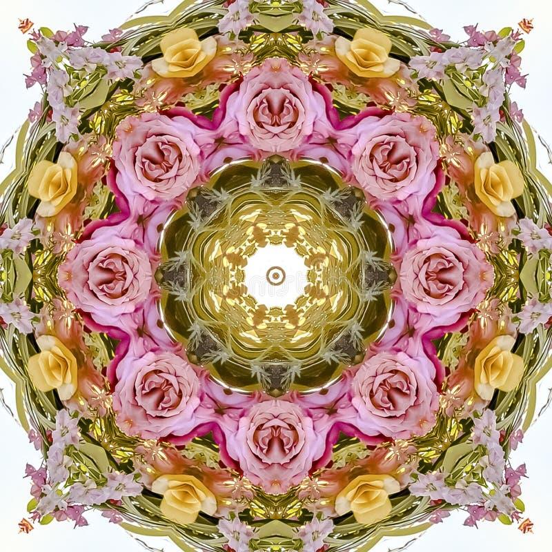 Conception florale circulaire d'abrégé sur place avec les roses jaunes et rouges roses sur un champ de blanc photo stock
