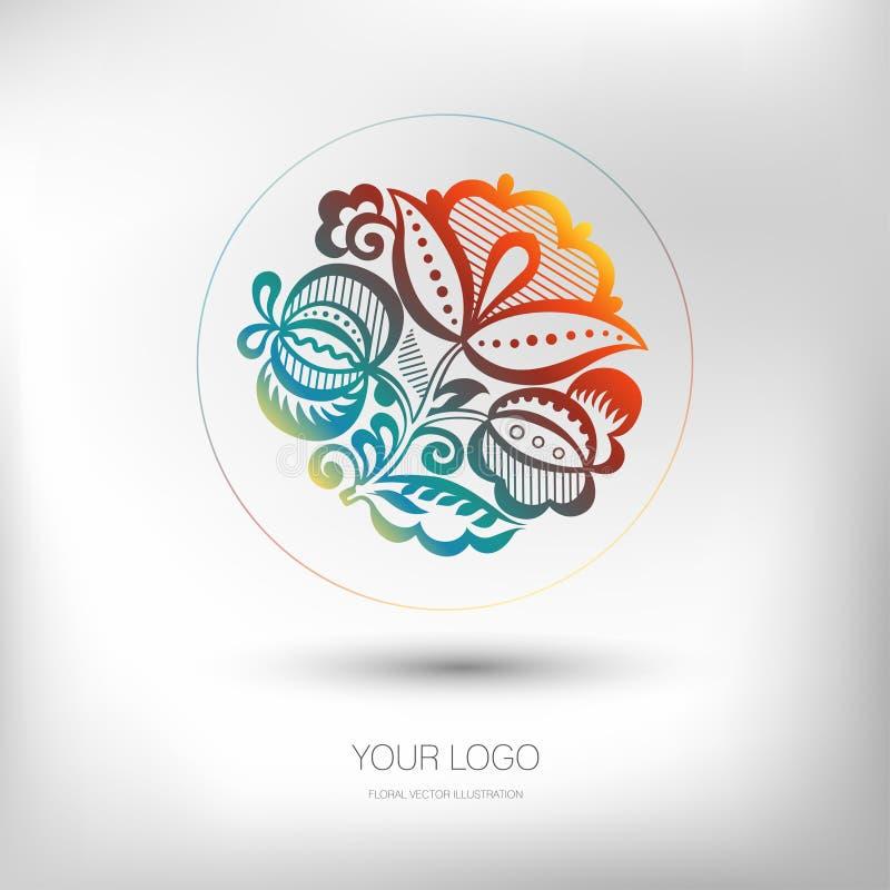 Conception florale colorée de logo Identité de marquage à chaud pour le fleuriste, boutique nuptiale, salon de beauté Vecteur illustration de vecteur