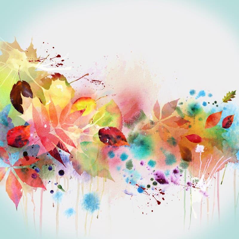 Conception florale d'automne, peinture d'aquarelle illustration libre de droits