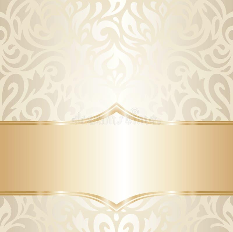 Conception florale d'or de papier peint de vintage de mariage illustration stock