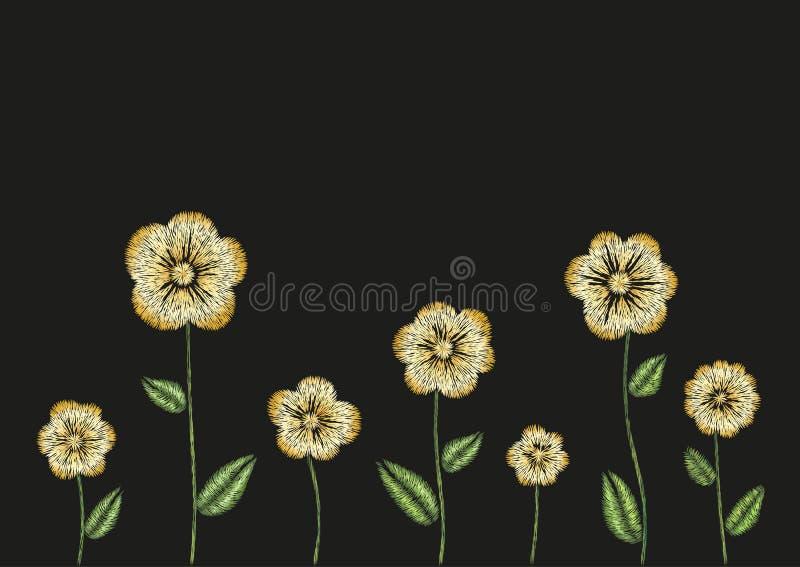 Conception florale d'imitation de frontière de modèle de broderie Dirigez l'ornement de mode de point de satin d'illustration ave illustration de vecteur