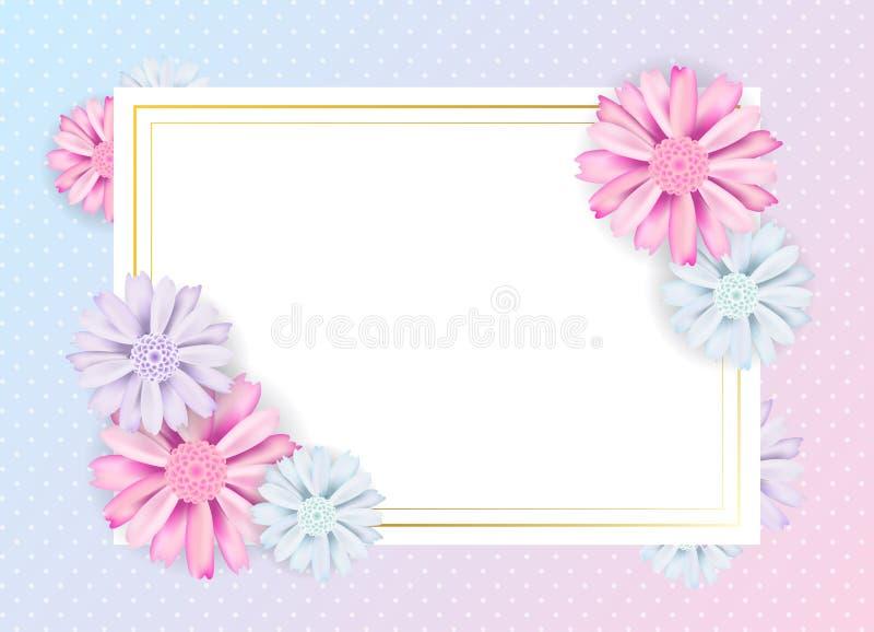 Conception florale de bannière de vintage romantique Épanouissez-vous la carte et le cadre carré pour votre texte Illustration de illustration de vecteur