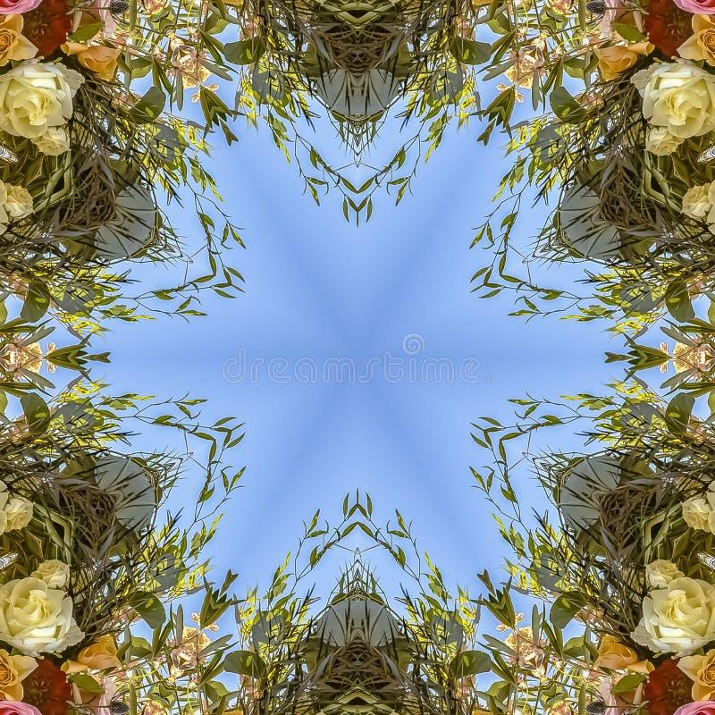Conception florale de cadre carré avec des angles intéressants et des fleurs colorées photographie stock