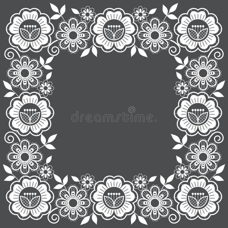 Conception florale de cadre de vecteur de dentelle, modèle carré ornemental avec des roses et remous, conception détaillée de den illustration stock