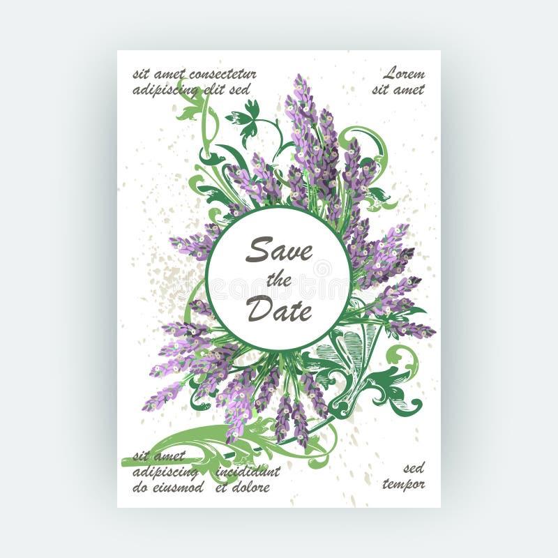 Conception florale de couverture de modèle de lavande Fleur créative tirée par la main illustration stock