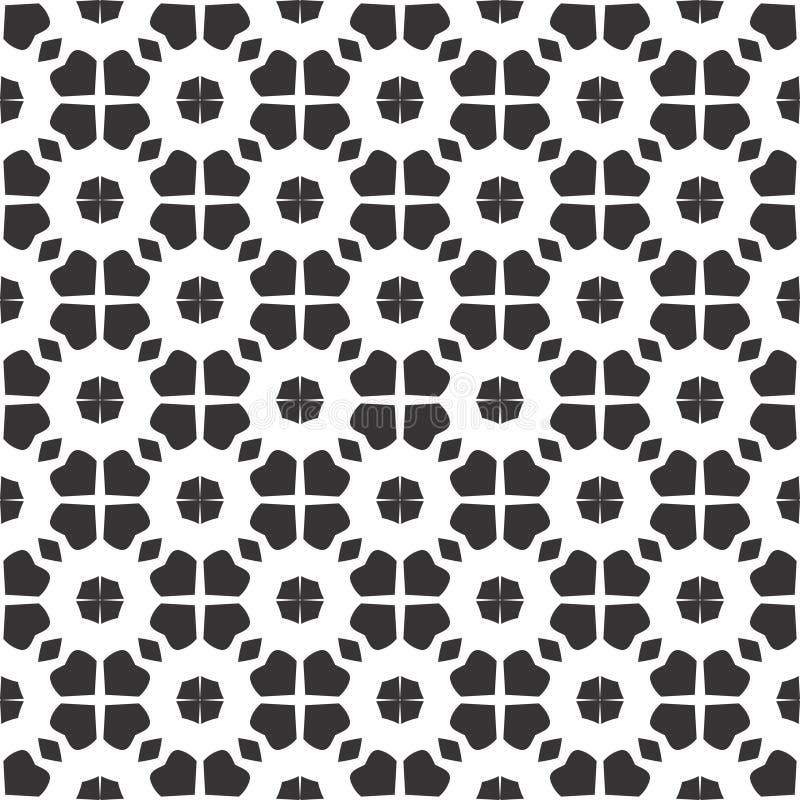Conception florale de kaléidoscope noir et blanc d'abrégé sur vecteur, modèle sans couture ou conception illustration stock
