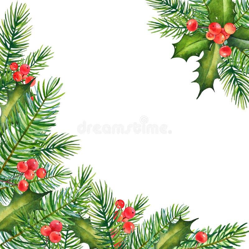 Conception florale de Noël décoratif avec des branches d'aquarelle de h illustration de vecteur