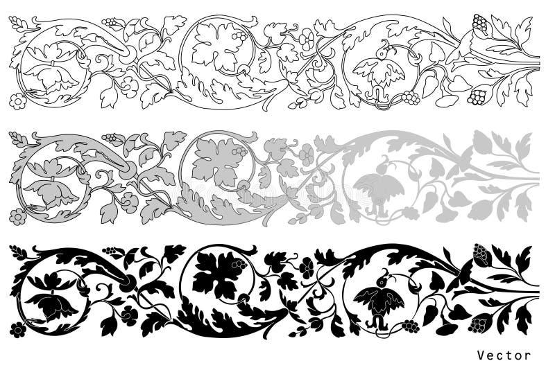 Conception florale de type de Vicrtorian illustration stock