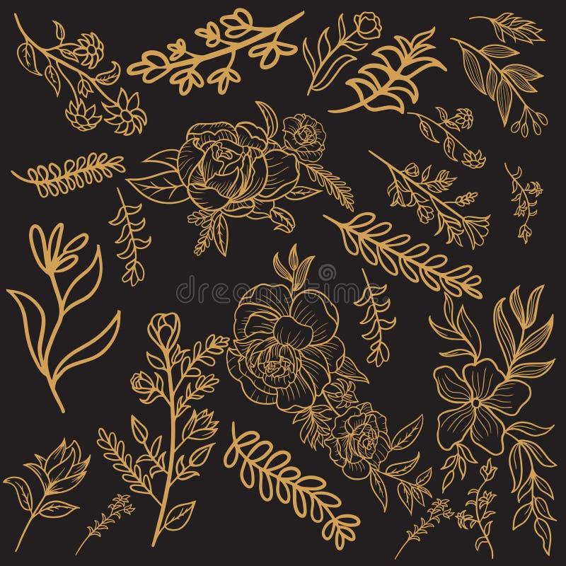 Conception florale de vecteur d'or illustration de vecteur