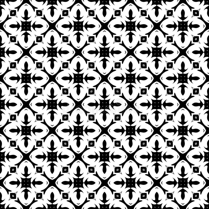 Conception florale geomatrical d'abrégé sur noir et blanc vecteur, modèle sans couture ou conception illustration de vecteur