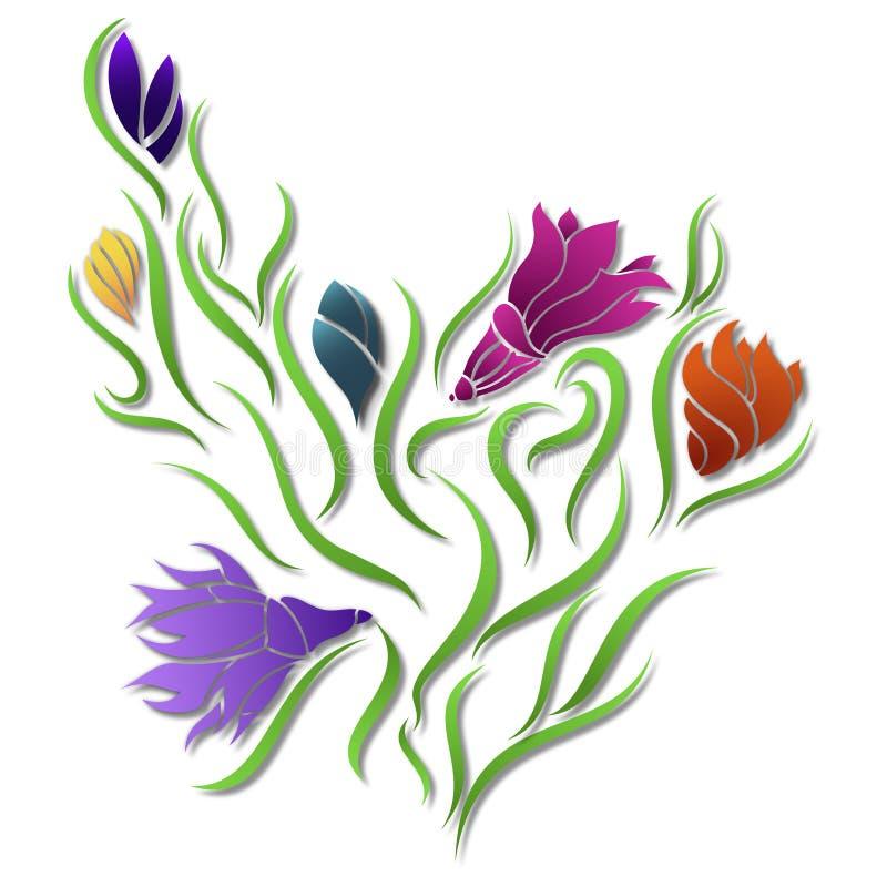 Conception florale - illustration de Digital de modèle de fleur illustration stock