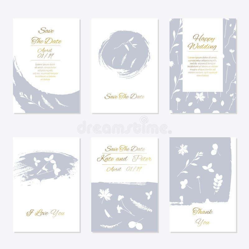 Conception florale tendre romantique pour épouser l'invitation illustration stock