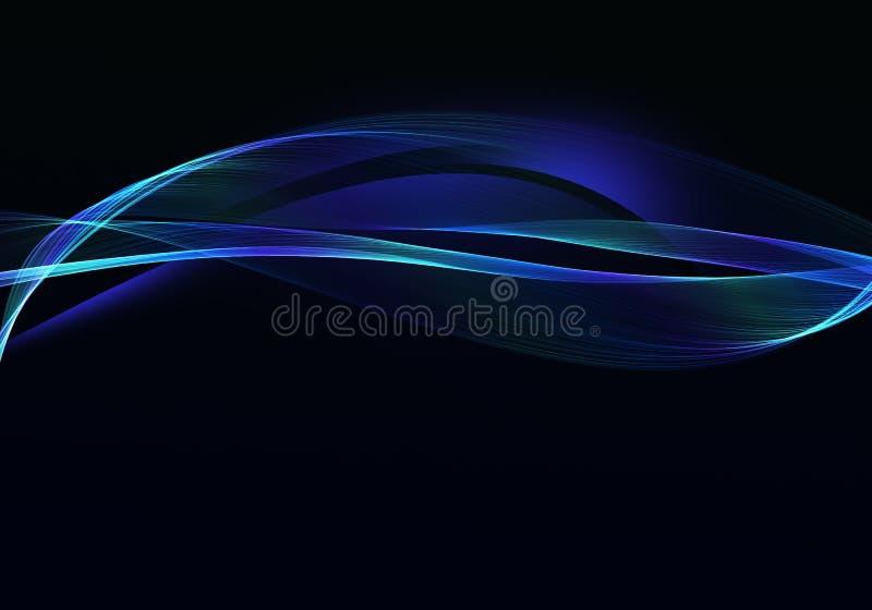 Conception foncée abstraite élégante de fond avec les courbes bleues et vertes et espace pour votre texte illustration de vecteur