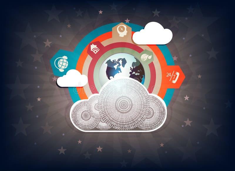 Conception foncée avec le nuage d'ordinateur illustration de vecteur