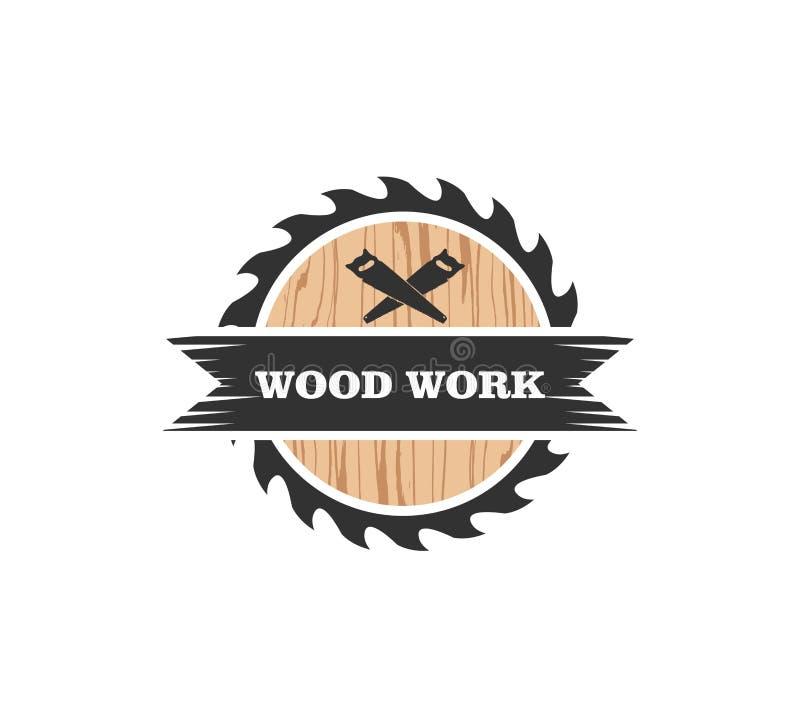 conception fonctionnante en bois de logo de vecteur d'usine de charpentier de loge illustration de vecteur