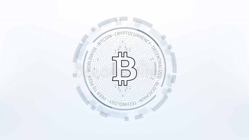Conception futuriste d'illustration de vecteur de Bitcoin Cryptocurrency illustration libre de droits