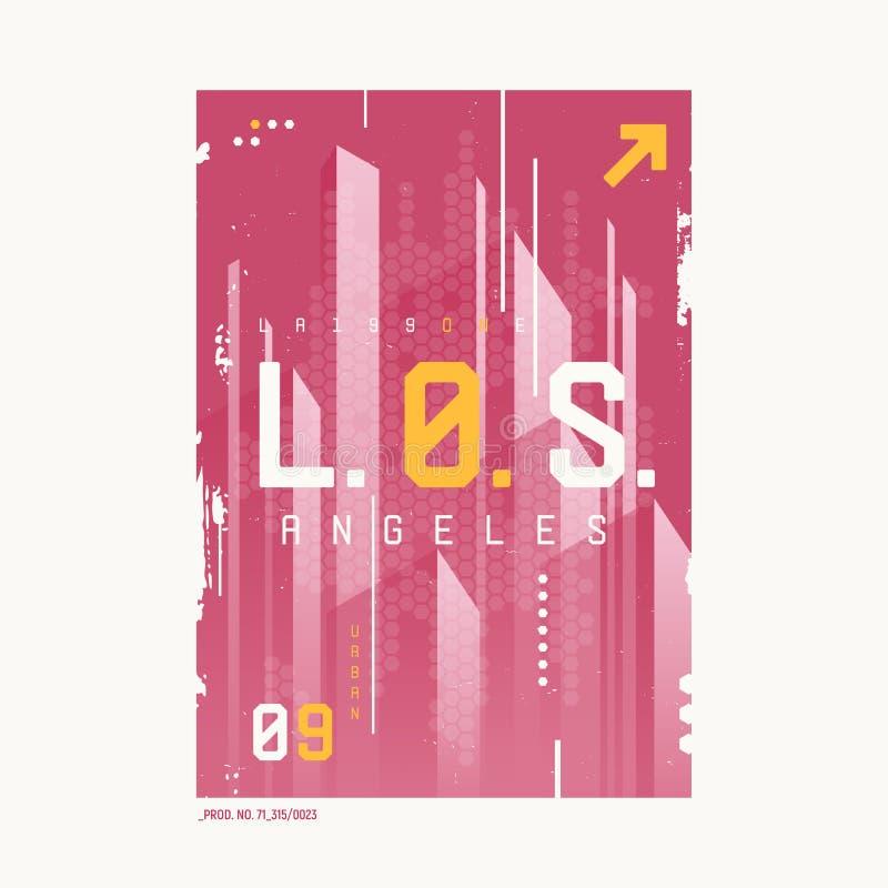 Conception futuriste géométrique d'abrégé sur T-shirt de Los Angeles, copie, illustration libre de droits