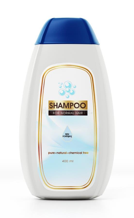 Conception générique de bouteille et de label de shampooing d'isolement sur le fond blanc illustration 3D illustration libre de droits