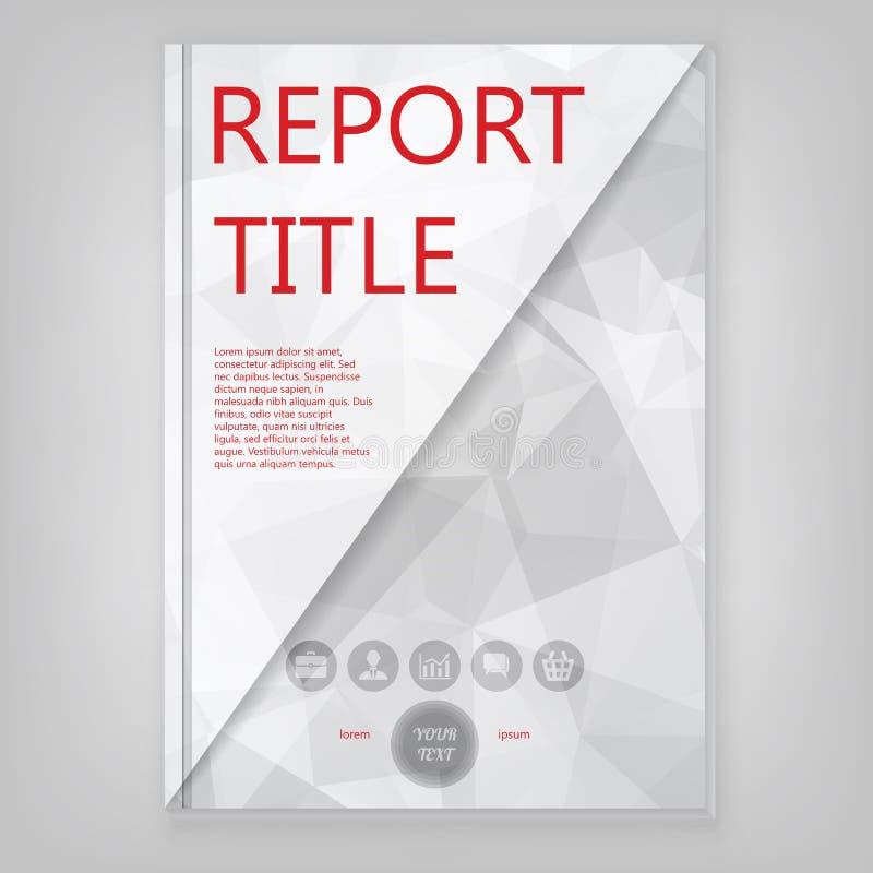 Conception géométrique abstraite de couverture grise avec polygones triangulaires, Conception de la broche Modèle de brochure d'e illustration stock