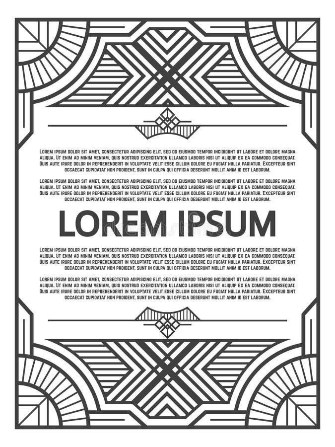 Conception géométrique de cadre - calibre d'affiche d'art déco illustration stock