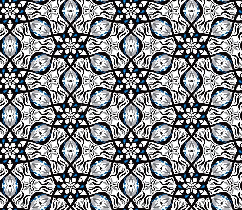 Conception géométrique de vibration d'illusion optique Modèle sans couture de couleurs noires et blanches du Pentagone illustration libre de droits