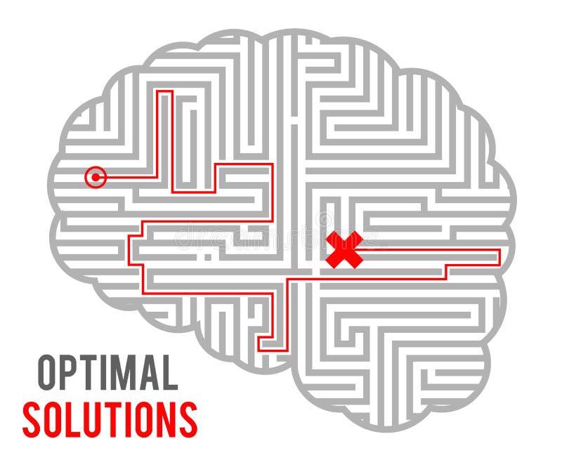 Conception géométrique monochromatique de fond de prise de décision de complexité de cerveau de solutions de labyrinthe abstrait  illustration de vecteur