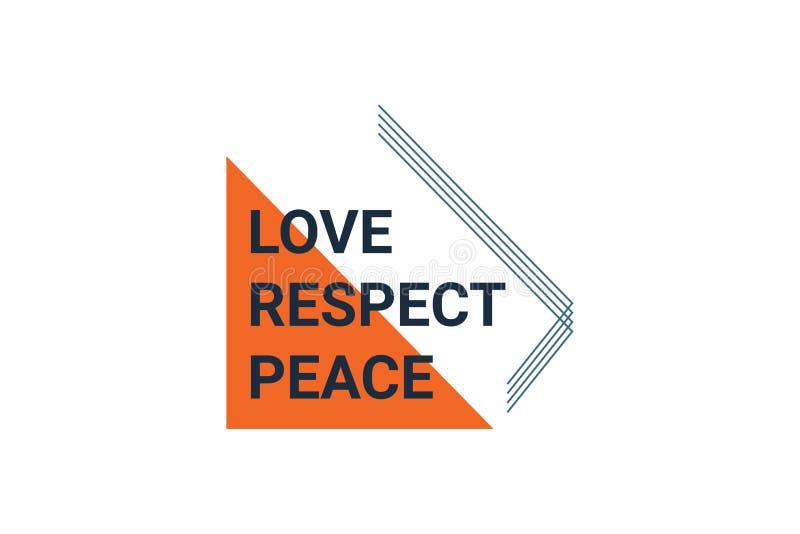 """Conception graphique amour d'énonciation """", respect, de la paix couleurs oranges et bleu-foncé dedans illustration de vecteur"""