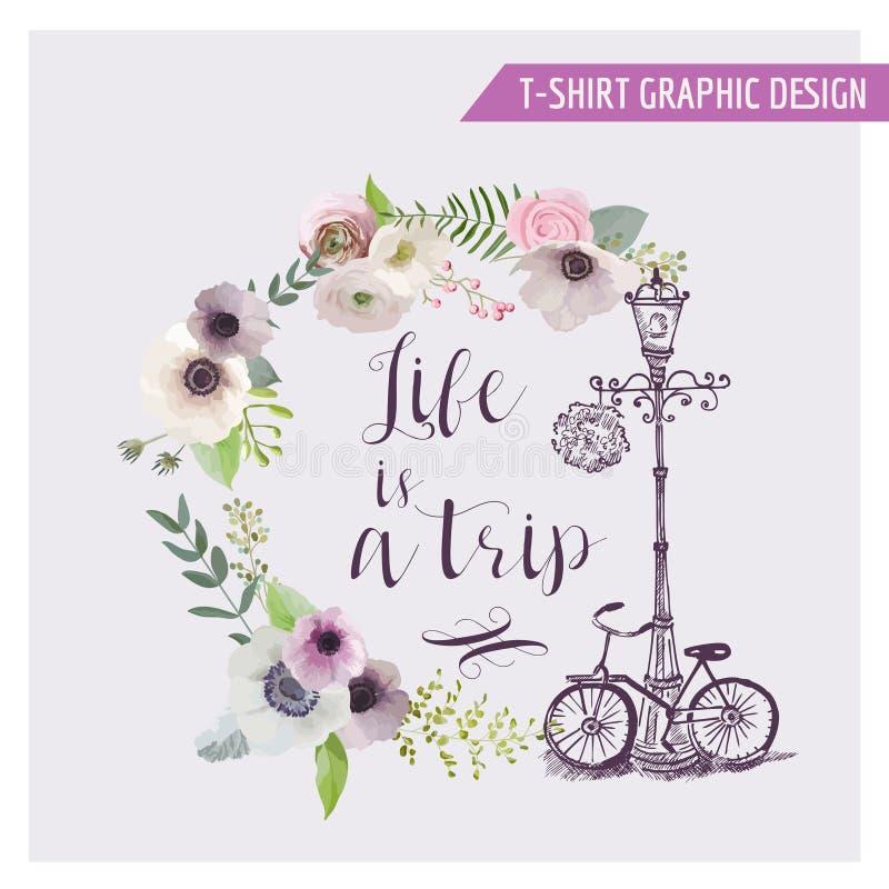 Conception graphique chic minable florale illustration stock