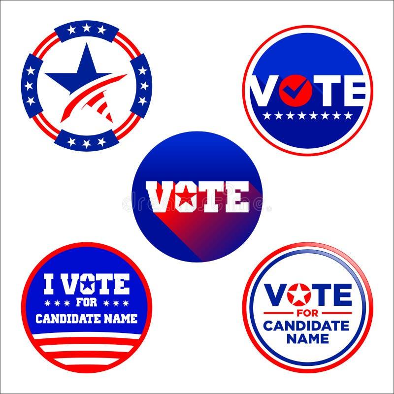 Conception graphique de cercle de vote américain de candidat illustration stock