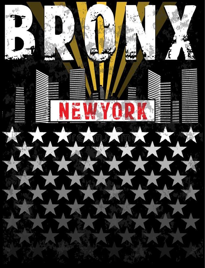 Conception graphique de pièce en t d'impression de Bronx illustration de vecteur