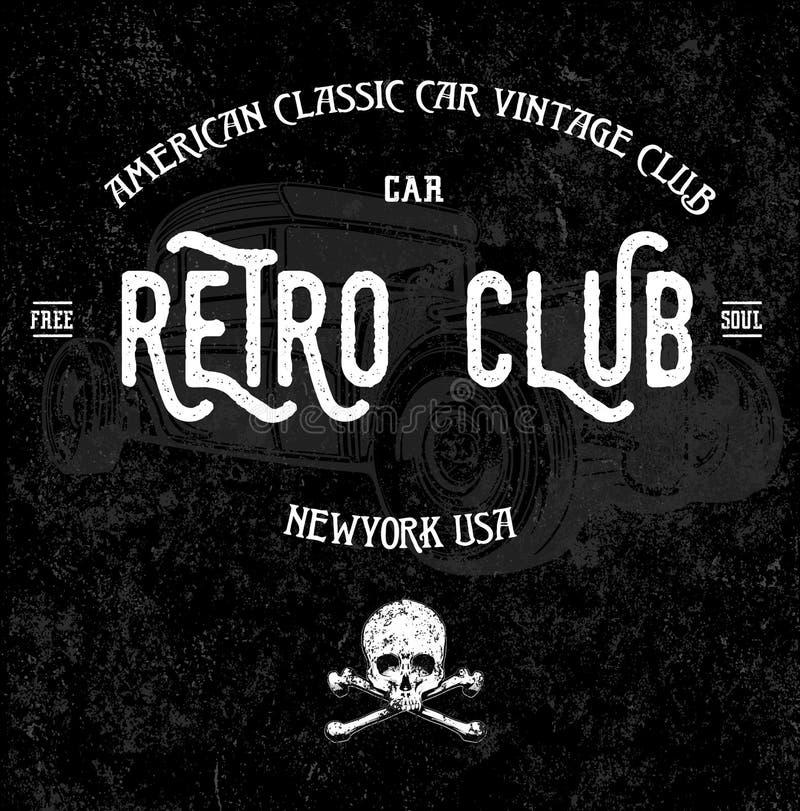 Conception graphique de rétro de voiture pièce en t de club illustration de vecteur