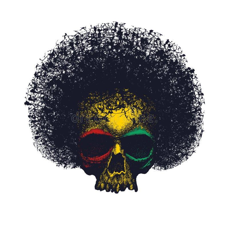 Conception graphique de reggae de crâne illustration stock