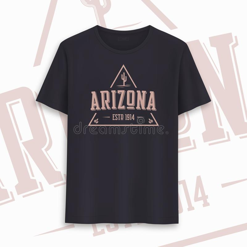 Conception graphique de T-shirt d'?tat de l'Arizona, typographie, copie Illustration de vecteur illustration de vecteur
