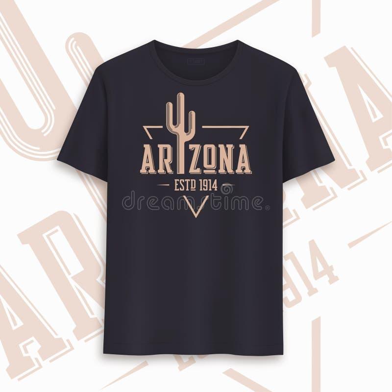 Conception graphique de T-shirt d'?tat de l'Arizona, typographie, copie Illustration de vecteur illustration libre de droits