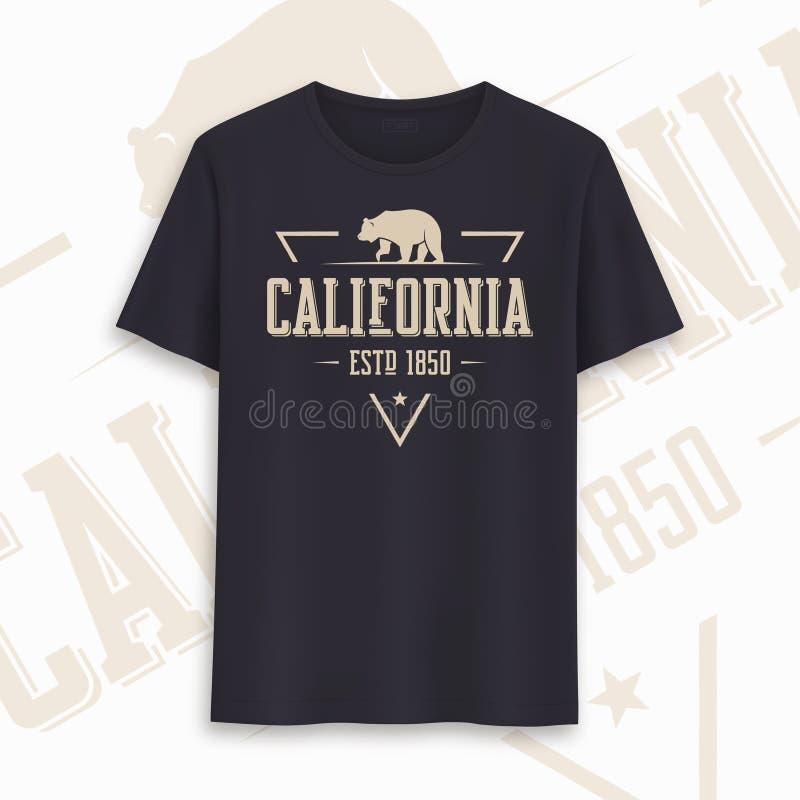 Conception graphique de T-shirt d'?tat de la Californie, typographie, copie Illustration de vecteur illustration de vecteur