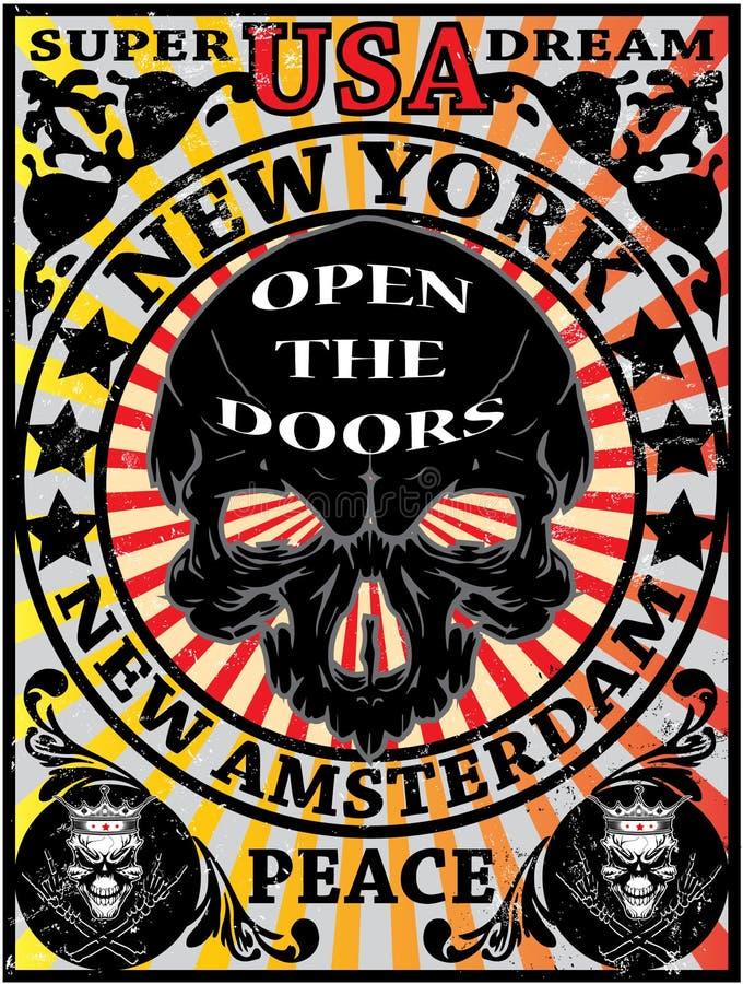 Conception graphique de T-shirt d'Eagle Poster Man de vintage de New York de crâne illustration libre de droits