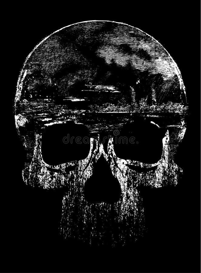 Conception graphique de T-shirt de crâne illustration de vecteur