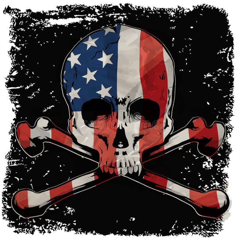 Conception graphique de T-shirt de crâne avec le drapeau illustration libre de droits