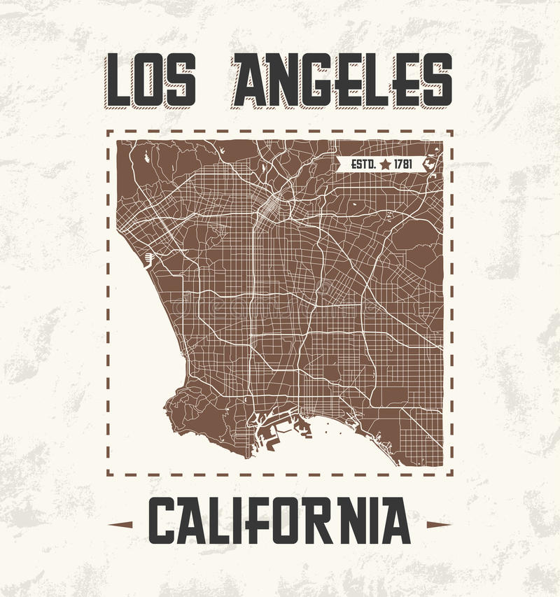 Conception graphique de T-shirt de vintage de Los Angeles avec la carte de ville illustration de vecteur