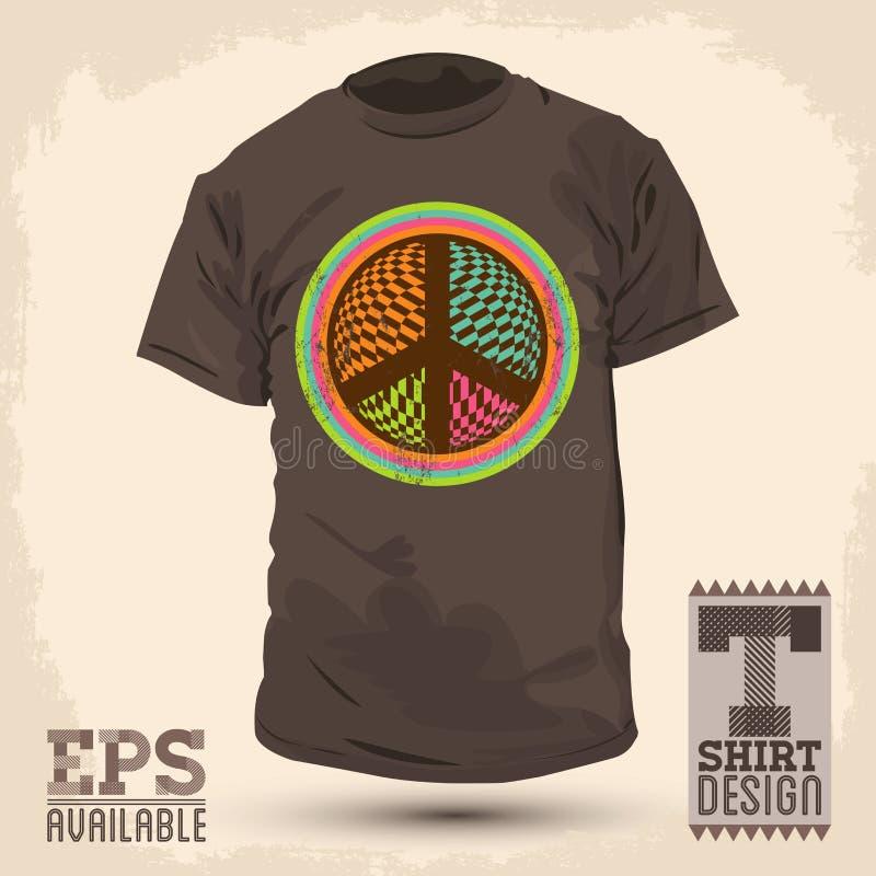 Conception graphique de T-shirt de vintage - la paix et l'amour signent illustration stock