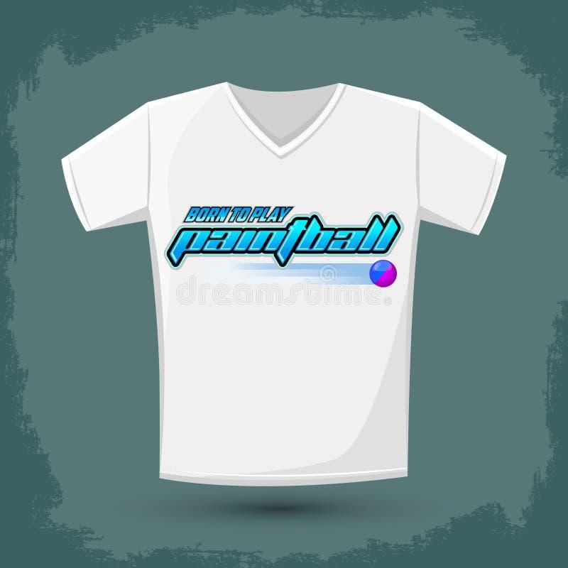Conception graphique de T-shirt, I soutenu pour jouer au Paintball illustration libre de droits