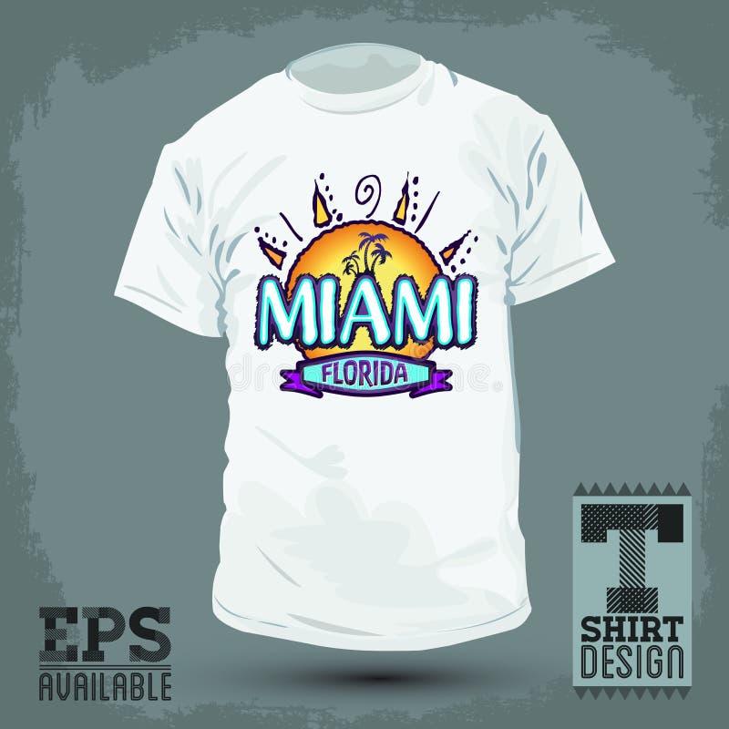 Conception graphique de T-shirt - Miami la Floride illustration libre de droits